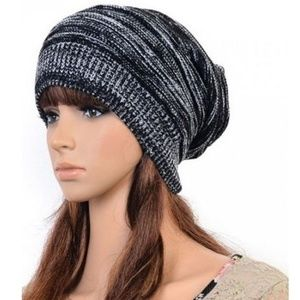 Women's Knit Black and White Baggy Beanie Beret